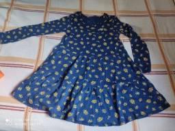 Vestido azul marinho estampado manga longa