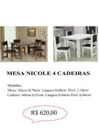 Mesa Nicole 4 cadeiras 100% mdf  620,00