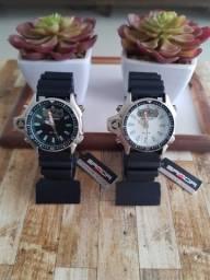 Relógio Sanda 3008 analógico e digital à prova d'água com pulseira e caixa reforçada