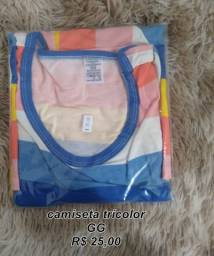 Camisa tri-color feminina