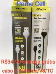 Carregador 2.1/cabo V8/TC/iPhone