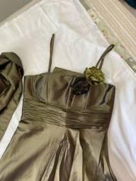 Vestido verde musgo tafetá TAM 46/G