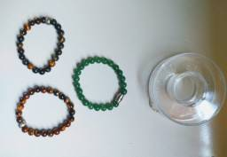 Pulseiras de Pedra Natural + Embalagem de Brinde