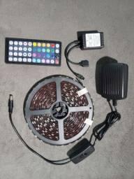 Fita led RGB 5m com controle e fonte