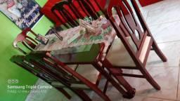 Conjunto em Mogno de Mesa de jantar com 6 cadeiras + Buffet