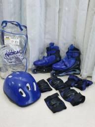 Kit Radical Rollers Completo Tamanho M azul Bel Fix<br>João monlevade MG