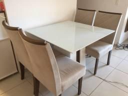 Mesa de jantar dj moveis com 4 cadeiras