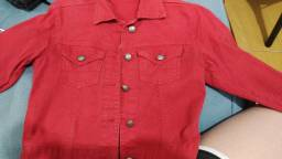 Jaqueta jeans vermelha