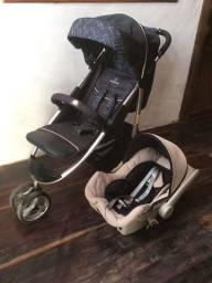 Carrinho de bebê Apollo Preto, Bebê conforto Cocoon e Berço Dobrável