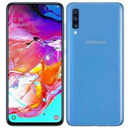 "Samsung A70 128GB Azul 4G - 6GB RAM Tela 6,7"" Câm. Tripla + Selfie 32MP<br><br>"