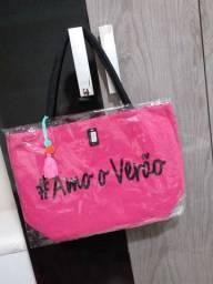 Bolsa de praia amo o verão rosa