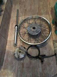 Sistema de freio tambor c/cancela  e roda de raio para freio tambor