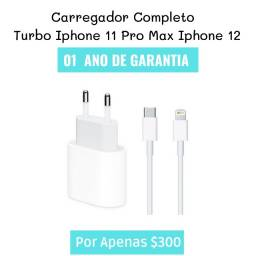 Kit Completo Iphone 11 Carregador turbo rápido ( 01 ) Ano De Garantia