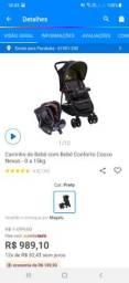 Carrinho de bebê com bebê conforto Cosco