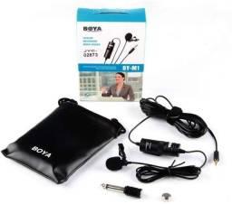 Microfone de Lapela Com Fio Boya By-M1 Para Câmeras e Smartphones ( Novo )
