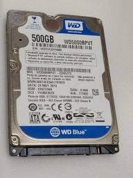HD disco rígido notebook 500GB WD blue seminovo testado e com garantia