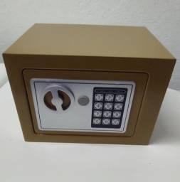 Cofre eletrônico digital, dourado com duas chaves