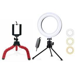 Kit Live/ Youtuber Luminária Ring Light + Tripé P/ Celular