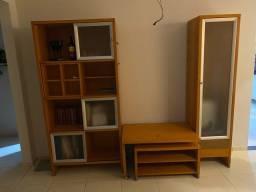 Conjunto 3 peças madeira! Decorativo estante!