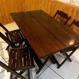 Kit c/ 8 Jogos de Mesa Dobráveis 120x70 c/ 4 Cadeiras