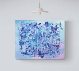 Quadro abstrato azul e roxo 90x70cm