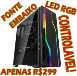 Gabinete Gamer Grande com Led RGB Controlável! (Vários Efeitos) Fonte Embaixo!