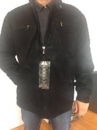 Jaqueta masculina em couro na cor preta tamanho G
