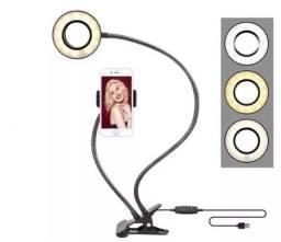 Kit Ring Light Led Com Suporte De Celular Mesa Live Makeup