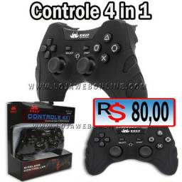 Controle Pc Sem Fio Wireless Recarregável Joystick Ps3 Ps2 Ps1