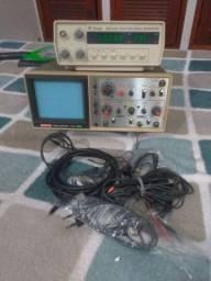 Gerador de funções Minipa mfg4202  osciloscopio Hitachi  V212.