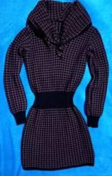 Vestido cinturado e gola caída de trico em lã novo