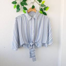 Camisa listras cropped - M