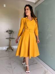 Vestido Crepe De Malha - Amarelo