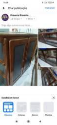 Balcão antigo vitrine madeira vidro Med 2 metros