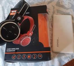 Vendo carregador portátil de 1000 e fone headphones via Bluetooth pega cartão de memória