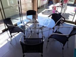 Mesa ALUMÍNIO loana 5 cadeiras completa promocao