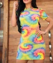 Vestido Tie Dye Camisetão Feminino