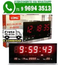 Relógio de Parede Led Vermelho Digital Temperatura Calendário Alarme LE-2112 (Novo)