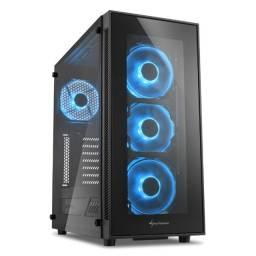 Gabinete Gamer TG5 Sharkoon Blue Vidro Temperado 4mm Led Fan 12cm ATX