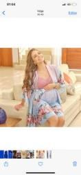 Camisola para amamentação e robe