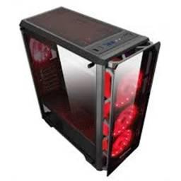 Gabinete gamer Xigmateck Astro Metal Red (sem cooler) com Vidro temperado