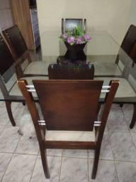 Mesa de vidro 6 cadeiras