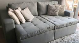 Vendo Sofá Retrátil de Linho Cinza