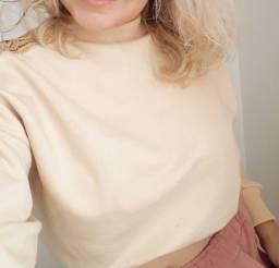 Cropped Moletom blusa bege