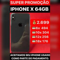 iPhone X 64gb, aceitamos seu iPhone usado como parte do pagamento. Somos loja.