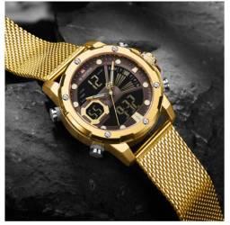Relógio naviforce marca superior de luxo ouro quartzo relógio masculino à prova da água