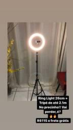 Ring Light 26cm + Tripé 2.1m Novo