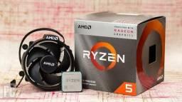 Processador Ryzen 5 3400g up 4.2ghz com placa de vídeo integrada.