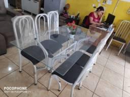 mesa vidro 06 cadeiras nova