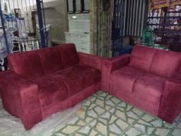 Conjunto de sofá 3 x 2 lugares tecido sued Amassado